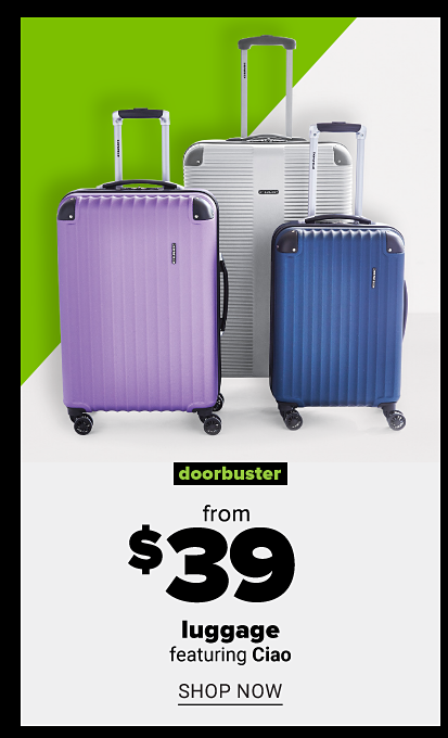 Hardside roller luggage in silver, purple and blue colors and various sizes. Doorbuster. From $39 luggage featuring Ciao. Shop now.