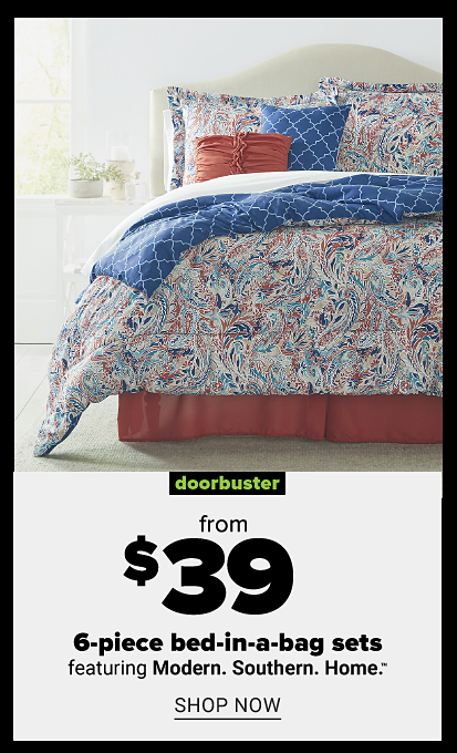 Blue, coral and white patterned bedding with coral bed skirt and coral and blue accent pillows. Doorbuster. From $39 6 piece bed in a bag sets featuring Modern Southern Home. Shop now.
