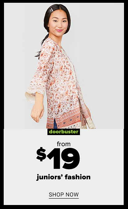 Young girl with barettes in hair and floral printed kimono. Doorbuster. From 19.99 juniors fashion. Shop now.