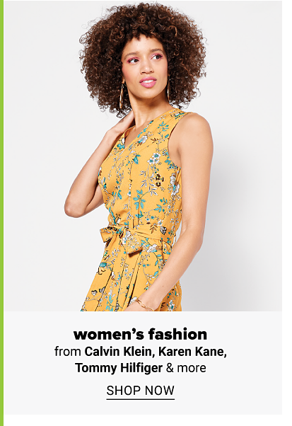 Woman in yellow floral tie waist sleeveless dress. Women's fashion from Calvin Klain, Karen Kane, Tommy Hilfiger and more. Shop now.