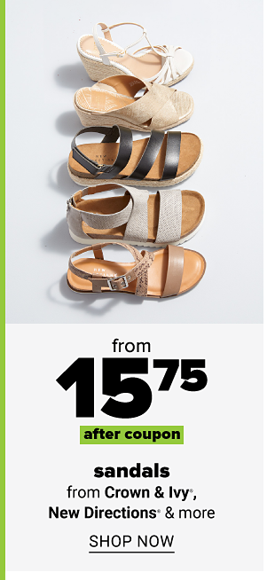 Various strappy sandals in neutral colors and patterns. From 15.75 after coupon sandals from Crown and Ivy, New Directions and more. Shop now.