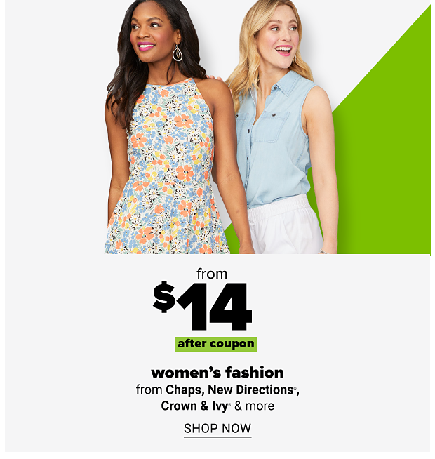 Woman in blue, orange and yellow floral sleeveless dress and woman in button up chambray tank top with white shorts. From $14 after coupon women's fashion from Chaps, New Directions, Crown and Ivy and more. Shop now.