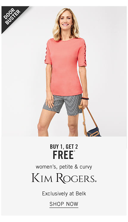 A woman wearing a coral short sleeved top & black & white check shorts holding a handbag. Doorbuster. Buy 1, Get 2 Free women's, petite & curvy Kim Rogers. Exclusively at Belk. Shop now.