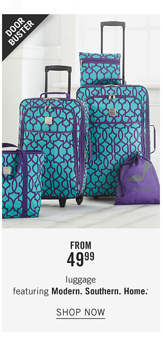 A 5 piece teal & purple patterned print luggage set. Doorbuster. From $49.99 luggage featuring Modern Southern Home. Shop now.