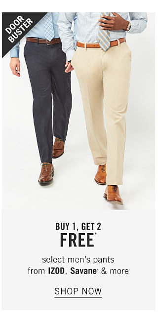 A man wearing a light blue dress shirt, blue & white plaid tie, navy pants & brown shoes standing next to a white dress shirt, gray & white diagonal striped tie, beige pants & brown shoes. Doorbuster. Buy 1, Get 2 Free select men's pants from Izod, Savane & more. Shop now.