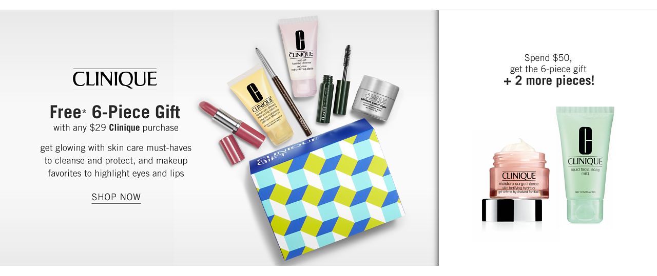 An assortment of Clinique beauty products & a multi colored print makeup pouch. Clinique Free 6 Piece Gift with any $29 Clinique purchase. Get glowing with skin care must haves to cleanse & protect & makeup favorites to highlight eyes & lips. A jar of skin cream & a tube of facial scrub. Spend $50 & get the 6 piece gift plus 2 more pieces. Shop now.