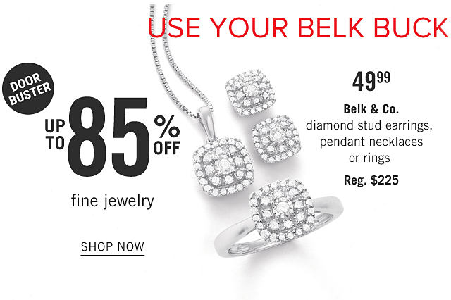 Use Your Belk Bucks on Doorbusters. An assortment of gold, diamond & blue diamond pendant necklaces & rings. Doorbuster. Up to 85% off fine jewelry. Shop now.