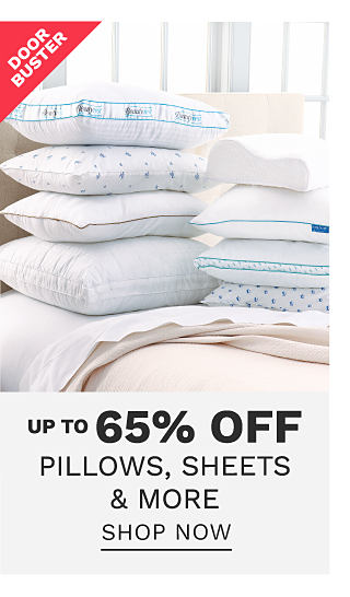 2 stacks of white pillows on top of a bed made with a white comforter & white sheets. DoorBuster. Up to 65% off pillows, sheets & more. Shop now.