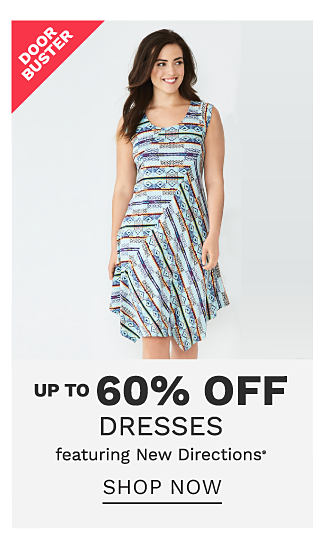 A woman wearing a multi colored print sleeveless dress. DoorBuster. Up to 60% off dresses featuring New Directions. Shop now.