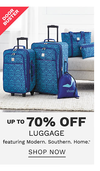 A blue 5 piece luggage set. DoorBuster. Up to 70% off lugagge featuring Modern Southern Home. Shop now.