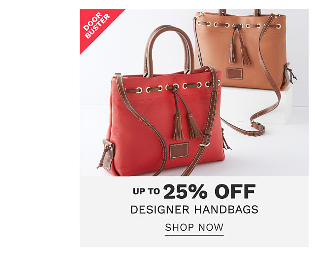 a red leather tote with brown leather handles, straps & tassel detail & a brown leather tote with brown leather handles, straps & tassel detail. DoorBuster. Up to 25% off designer handbags. Shop now.