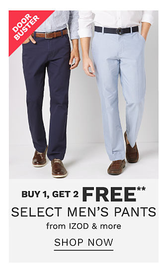 A man wearing a gray dress shirt, navy pants & black shoes standing next to a man wearing a white dress shirt, light blue pants & brown shoes. Doorbuster. Buy 1, Get 2 Free select men's pants from Izod & more. Shop now.