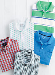 An assortment of men's polos and button-front in various prints and colors. Shop shirts.