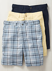An assortment of men's shorts in various colors and prints. Shop shorts.