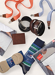 An assortment of socks, underwear, belts, wallets and suspenders. Shop accessories.