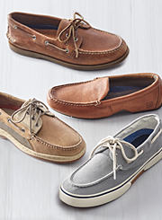 An assortment of men's deck shoes in various colors. Shop shoes.