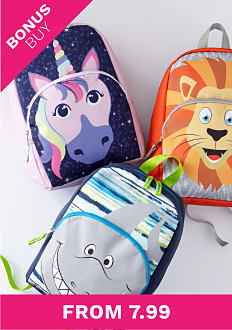 A unicorn back pack, a lion back pack and a shark back pack. Bonus buy. From 7.99.