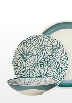 2 plates and a bowl in off-white with green accents. Dinnerware. Shop now.