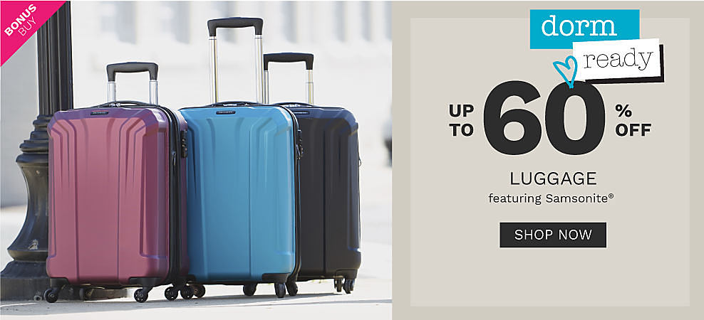 Three hardside wheeled suitcases in pink, blue and black. Bonus buy. Dorm ready. Up to 60% off luggage featuring Samsonite. Shop now.