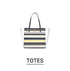 A multi colored horizontal striped tote. Shop totes.