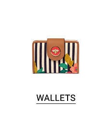 A black & white vertical striped wallet with beige trim & multi colored flower detail. Shop wallets.
