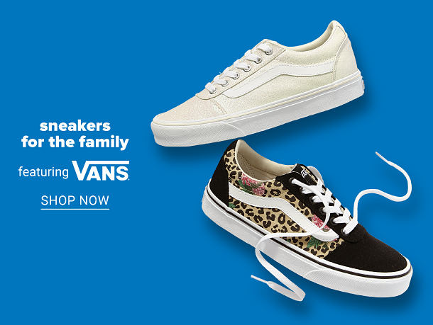 A white sneaker and a black and leopard print sneaker. Sneakers for the family featuring Vans. Shop now.
