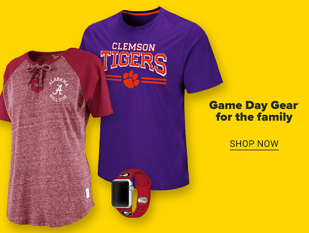 A woman's Alabama tee and a men's Clemson tee. A red watch with a team logo. Game day gear for the family. Shop now.