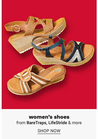 Three pairs of wedge sandals in a variety of styles and colors. Women's shoes from Bare Traps, Life Stride and more. Shop now.