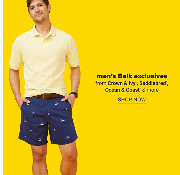 A man in a short sleeve yellow polo shirt and navy shorts. Men's Belk exclusives from Crown and Ivy, Saddlebred, Ocean and Coast and more. Shop now.