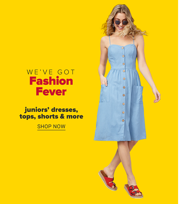 A woman in a sleeveless, button front tea-length chambray dress, round sunglasses and red sandals. We've got fashion fever. Juniors' dresses, tops, shorts and more. Shop now.