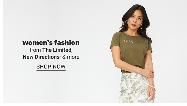 A woman in a green tee and a white skirt with green print. Women's fashion from The Limited, New Directions and more. Shop now.