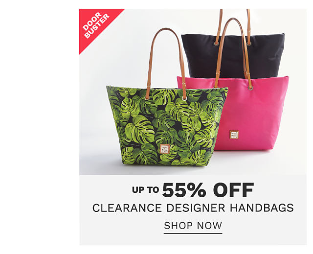 A green & black tropical leaf print bucket tote with brown leather handles, a fuchsia bucket tote with brow leather handles & a black bucket tote with brown leather handles. DoorBuster. Designer handbag clearance. Up to 55% off. Shop now.