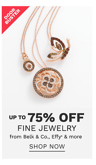 An assortment of rose gold & diamond pendant necklaces. DoorBuster. Up to 70% off fine jewelry from Belk & Co, Effy & more. Shop now.
