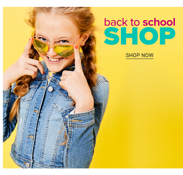 A girl wearing sunglasses & a denim jacket. Back to School Shop. Shop now.