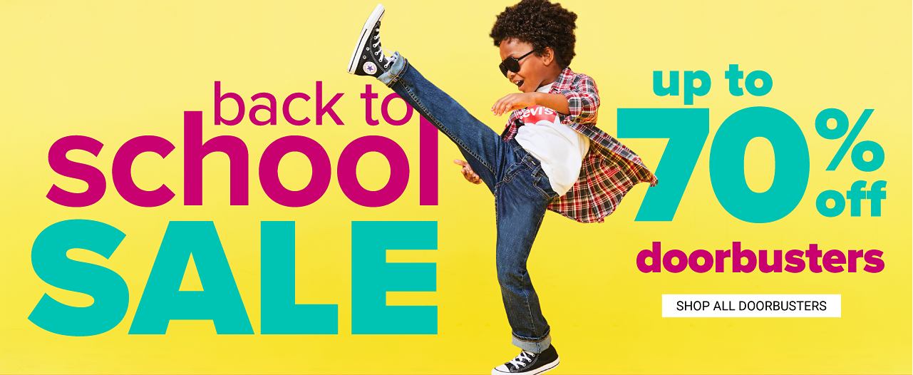 Ends July 24. Extra 20% off regular & sale purchases. Get coupon. Congratulations. You've Earned Belk Reward Dollars. Apply at checkout. A boy wearing sunglasses, a red, black & white long sleeved button front shirt over a white T shirt, blue jeans & navy high top sneakers. Back to School Doorbusters. Up to 70% off. Shop all Doorbusters.