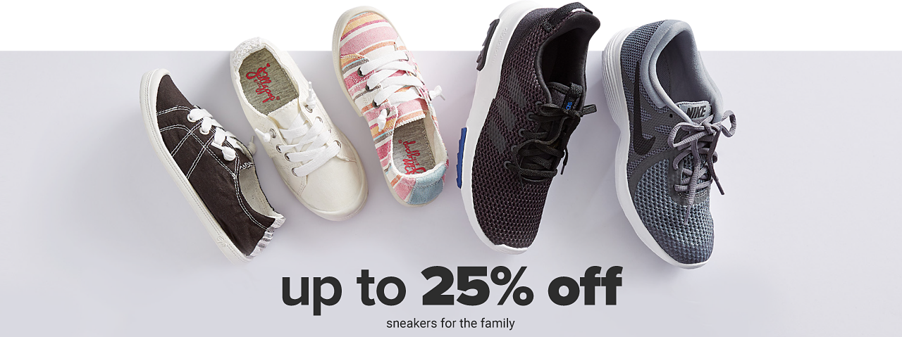 An assortment of sneakers in a variety of colors & styles. Up to 25% off sneakers for the family.