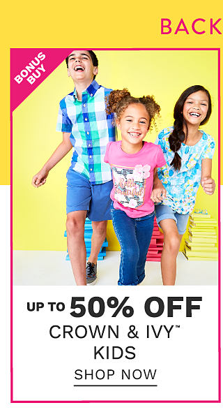A boy wearing a blue, green & white plaid short sleeved button front shirt & blue shorts, a girl wearing a pink T shirt with a multi colored front graphic & blue jeans & a girl wearing a blue, white & yellow floral print tee & denim shorts. Bonus Buy. Up to 50% off Crown & Ivy kids. Shop now.