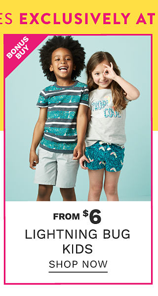 A boy wearing a teal, gray & white horizontal striped T shirt & gray shorts standing next to a girl wearing a white & teal Tropical Cool graphic tee & teal & white patterned print shorts. Bonus Buy. From $6 Lightning Bug kids. Shop now.