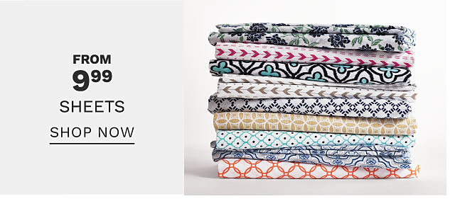 A stack of folded bed sheets in a variety of colors & prints. Bonus Buy. From $9.99 sheets. Shop now.