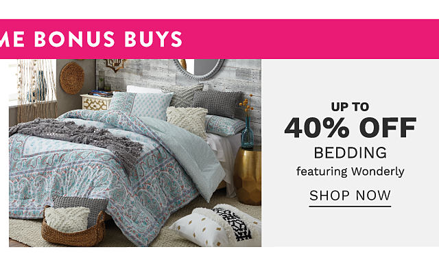 A bed made with a gray & white patterned print comforter & coordinating pillows. Bonus Buy. Up to 40% off bedding featuring Wonderly. Shop now.