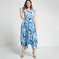 A woman wearing a blue & white print sleeveless dress & heels. Shop dresses.