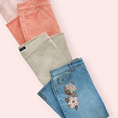 An assortment of folded capris in a variety of colors & styles. Shop capris.
