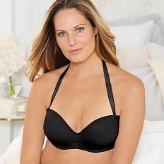 A woman wearing a black bra. Shop bras.
