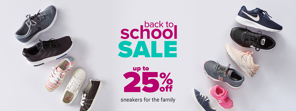 ab4ec8f8ff95d An assortment of sneakers in a variety of colors & styles. Back to School  Sale