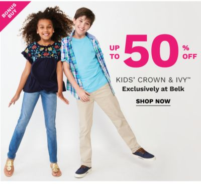 Bonus Buy - Up to 50% off kids' Crown & Ivy™ - Exclusively at Belk. Shop Now.