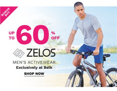 Bonus Buy - Up to 60% off ZELOS men's activewear - Exclusively at Belk. Shop Now.