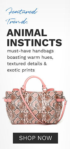 A multi colored snakeskin print handbag with pink handles & trim. Featured Trend. Animal Instincts. Must have handbags boasting warm hues, textured details & exotic details. Shop now.