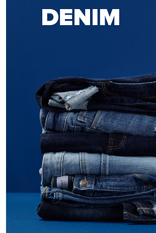 A GIF showing jeans being stacked on top of each other. Denim.