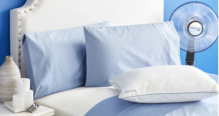 A bed made with a powder blue quilt and matching pillows and white sheets.