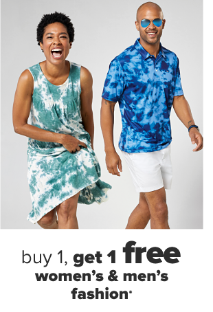 A woman in a mustard yellow tiered midi dress. A man in sunglasses, a blue tie dyed polo and white shorts. Buy 1, get 1 free women's and men's fashion.